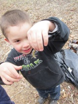 Gage holding a cute lil lizard