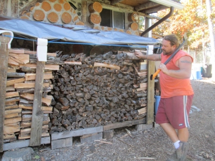 The man and his axe, marveling at a job well done :) So proud of my hubby.