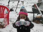 Rynae made a snowball using a coffee cup, lol