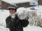 Paul making a big dirty snowball