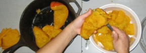 Scooping the pumpkin meat off of the skins, comes off super easy.