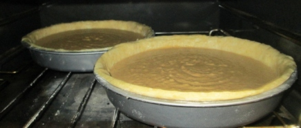 In the oven. Pie crust was also made from scratch.