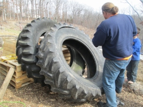 "The beginning of Gram's Garden. What can I say, I love circles, and repurposing old ""throw away"" stuff. A friend of ours had a whole bunch of old tractor tires and said we could have them. I thought they would be perfect for the Memorial Garden for my beloved Grandmother, Dorothy Lake."